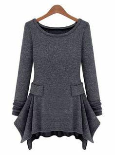Dark Grey Long Sleeve Ruffles Pockets Dress pictures