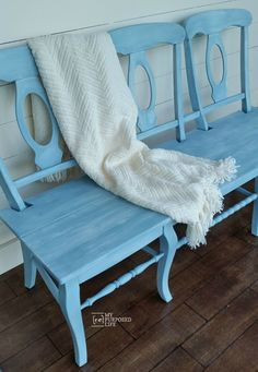 blue chair bench MyRepurposedLife.com More