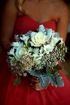 Beautiful Wedding Bouquet Featuring: White Roses, White Freesia, White Queen Anne's Lace, White Gypsophila, White Waxflower, Dusty Miller, Greenery & Foliage ~~