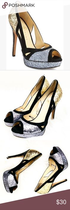 """Ivanka Trump Silver Gold SPARKLE Open Toe Pumps Ivanka Trump Sz 8.5 ITAPRYL2 Silver Gold Black SPARKLE Open Toe Pumps Style: Itapryl2 Gorgeous sparkling pumps Perfect for a party or night out Size 8.5 Leather  5"""" heel Ivanka Trump Shoes Heels"""