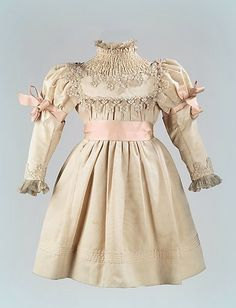 Silk and lace child's dress with ruched neckline ... c. 1890