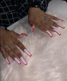 Long Square Acrylic Nails, Bling Acrylic Nails, Simple Acrylic Nails, Rhinestone Nails, Simple Nails, Acrylic Nail Designs, Jewel Nails, Classy Nails, Drip Nails