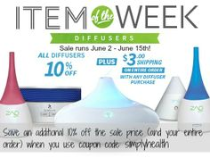 For all you diffuser lovers check out sparknaturals.com Item Of The Week. They have their diffusers 10% off plus you get an additional 10% off your entire order(including diffuers) with coupon code: simplyhealth  $3 shipping when you buy a diffuser!! They have some great accessories as well, roll bottles, spray bottles, ect.