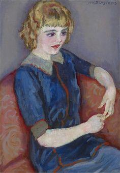 Jan Sluijters - Meisje op een rode sofa