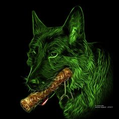 Green German Shepard and his chew toy. Don't ever take away a German Shepard's chew toy! Argh! German Shepard fractal art by artist James Ahn. 0745 F   All rights reserved.   © Rateitart.com // All Rights Reserved.  All Artwork, Photography, and Designs are copyrighted.  Do not use my works for commercial purposes.  Do not use my works to create derivative works.   Thank You.   #GermanShepard #GermanShepardArt #Dogs #DogLovers #DogLoversWorldwide #PopArt #FractalArt #JamesAhn #Rateitart