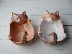 Keramik - Katzenschale, personalisierte Katze, Katzenporträt - ein Designerstück von bordo_ceramika bei DaWanda