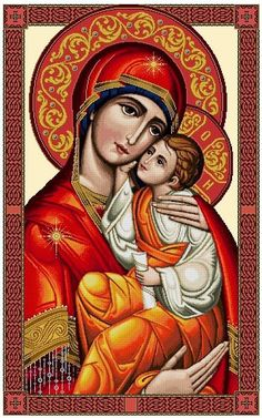 Mary and Child Jesus -Vatican design (Blue & Red Robes) Cross Stitch PDF Pattern Religious Images, Religious Icons, Religious Art, Christian Artwork, Christian Images, Paint Icon, Jesus Painting, Jesus Art, Blessed Mother Mary