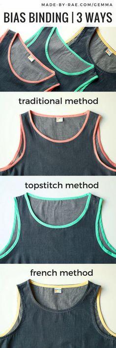 Three ways to sew bias binding! from Made by Rae - http://www.taylorssupplies.co.uk/bias-binding-60-c.asp