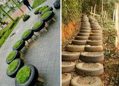 DADA IDEA: 15 idei pentru refolosirea unei anvelope Stepping Stones, Recycling, Landscape, Interior Design, Outdoor Decor, Diy, Home Decor, Nest Design, Stair Risers