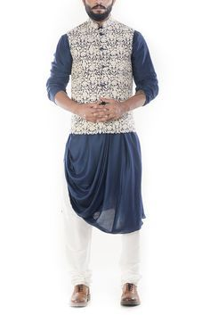 Royal Blue Cowl Drapped Kurta With Cream Dori Embroidery Waistcoat-@Smritiapparels.com