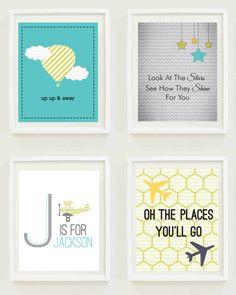 Nursery Prints : Stars & Sky - Travel - Monogram. $12.00, via Etsy.