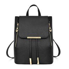 Women Black Zipper Backpack High Quality PU Leather Shoulder Bags For Teenage  Girls Fashion Black School Rucksack mochila XA868H-in Backpacks from  Luggage ... a6435819fb5f8