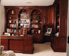 This Looks Just Like My Office The Desk And Triple Curved Bookcase