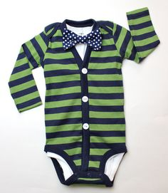 Cardigan and Bow Tie Onesie Set - Green with Navy Dot - Trendy Baby Boy