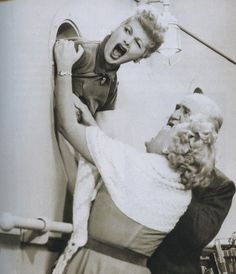 I LOVE Lucy episode.....stuck in a port hole while traveling to Europe.