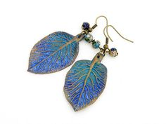 Blätter Ohrringe polymer clay Fimo Art  925 Silberhaken millefleur tragbare Kunst, blaue türkise  Ohrringe