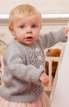 Baby Lace Cardigan Free Knitting Pattern from Red Heart Yarns