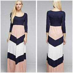 NEW The Heidi Dress Sizes S M L XL Beautiful long 3/4 sleeve maxi dress dusty pink and navy. Material is Rayon and spandex non sheer  Price Firm unless bundled  Like my page on Facebook Sweet-bb   Sizes S M L XL boutique  Dresses Maxi