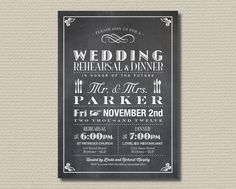 Printable Wedding Rehearsal and Dinner Invitation - Vintage Poster design with Chalkboard Background (RD24). $18.00, via Etsy.