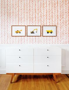 Construction Truck prints for boys bedroom from Leslee Mitchell Art. Serena & Lily feather wallpaper. Kids wallpaper. Car prints. Truck prints. Dump truck print. Excavator print. Boy nursery ideas, big boy room, playroom ideas. Kids interiors. Red bedroom. Red and yellow bedroom. Toy car print. Nursery wall art. Leslee photographed real toy cars & trucks to create this one of a kind Car Series. Her lifelong love of cars is what inspired her to launch her Car Series in 2015.