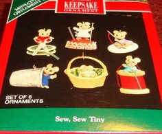 "1992 Hallmark Keepsake ""SEW, SEW TINY"" Miniature MOUSE Ornament 6 pc Set - MINT"