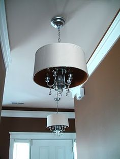 Diy chandelier drum shade shows how she attached th shade to her an absolutely amazing lighting before after drum lightinglighting ideasdrum shade chandelierbrass chandelier makeoverdiy mozeypictures Choice Image