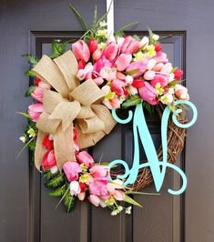 Grapevine Tulip Wreath with Burlap Bow and Initial