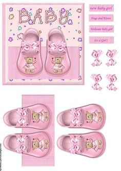 baby Girl shoes on Craftsuprint designed by Marijke Kok - very cute design for a… Kids Scrapbook, Scrapbooking, Baby Girl Clipart, Baby Shower Souvenirs, Children Sketch, Baby Shawer, Cute Clipart, Baby Christening, Paper Embroidery