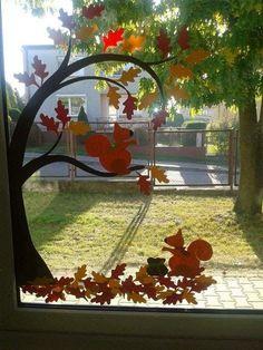 Eichhörnchen fensterbild Mit Baum Squirrel Window Picture With Tree Deko Ideen Decoration Creche, Class Decoration, School Decorations, Halloween Decorations, Fall Classroom Decorations, Autumn Crafts, Autumn Art, Autumn Trees, Diy And Crafts