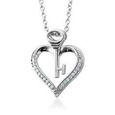 Sterling Silver Key My Heart Diamond Pendant Necklace (HI, I, 0.10 carat)  http://electmejewellery.com/jewelry/necklaces/pendants/sterling-silver-key-my-heart-diamond-pendant-necklace-hi-i-010-carat-com/