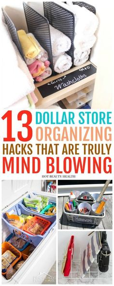These 13 DIY Dollar Store organizing hacks are insanely clever! Parents that are budgeting should know these because they're a much cheaper fix. Doesn't matter if you live in a small apartment or a huge home, these home organization ideas will help your home look less cluttered and you'll save tons of money! #ADHDorganization