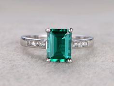 6x8mm Emerald Engagement ring White gold,Diamond wedding band,14k,Emerelad Cut Treated Emerald,Green Gemstone Promise Ring,Channel Set