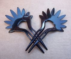 Vintage hair comb hair pin hair pick  signed YSL Yves Saint Laurent vintage hair accessories matched pair