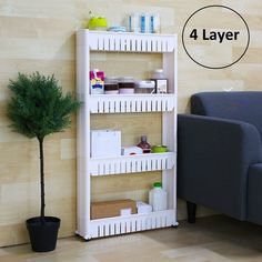 4 Layer Multipurpose Storage Organizer White Rack/Shelf With Wheels For Kitchen, Bathroom, Bedroom (54x12x100 cm) – MW Mall India