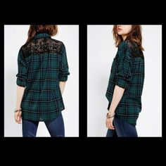 BDG lace plaid button up top Green and black plaid button up shirt with black lace panel in the back. Size small. In great condition worn once or twice BDG Tops Button Down Shirts