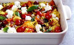 Kuskusový salát s pečenou zeleninou a sýrem feta , Foto: Denis Henry foodblog Feta, Food Inspiration, Cobb Salad, Good Food, Healthy Recipes, Cooking, Drinks, Fitness, Tarte Tatin