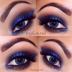 Smoky Eye with Bright Blue Winged Eyeliner and Blue Glitter
