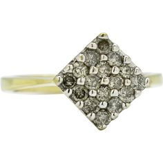 @rubylanecom Vintage .50ctw Genuine SI Diamond 10Karat Yellow Gold Ring Size 7 found at www.rubylane.com