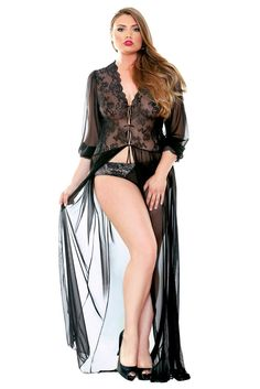 ab82c70ccb6 Plus Size Black Lace Lana Robe Dressing Gown