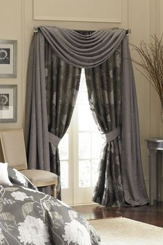 "Silvie Pole Top 50"" x 84"" Window Drapes - Silver Grey by Waterford Luxury Bedding on @HauteLook"