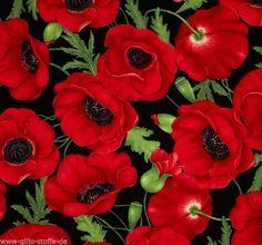 Timeless Treasures Flora Red Patchwork Stoffe Meterware Mohn Blumen 50cmx110cm