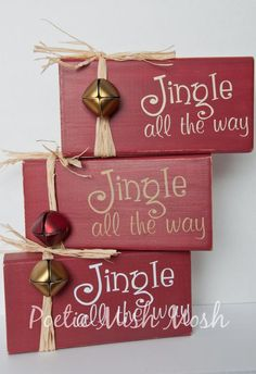 Jingle All The Way Festive Christmas/Holiday red by PoeticMishMosh Christmas Wood Block Crafts, Christmas Wood Decorations, Christmas Crafts To Sell Bazaars, Winter Wood Crafts, Wooden Christmas Crafts, Christmas Blocks, Pallet Christmas, Christmas Signs Wood, Christmas Bells