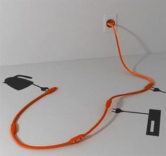 Cool Creative and Modern Extension Cords and Powerstrips Could work nicely for TV over mantle Getting Rid Of Clutter, Wire Storage, Electrical Cord, Cable Organizer, Making Life Easier, Yanko Design, Textiles, Machine Design, Color Themes