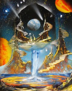 Waterfall painting with planets by Alisa Amor