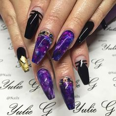 Coffin nails, Nails and New years eve nails on Pinterest
