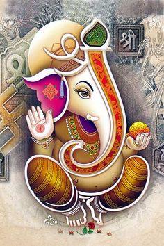 Ads Art Poster Wall decorative and Personalise Greeting cards Ganesha Drawing, Lord Ganesha Paintings, Lord Shiva Painting, Shri Ganesh Images, Ganesha Pictures, Clay Ganesha, Ganesha Art, Ganesh Lord, Sri Ganesh