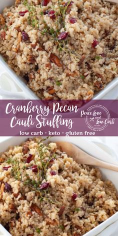 Cranberry Pecan Cauliflower Rice Stuffing | Peace Love and Low Carb