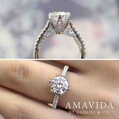 Gabriel & Co.-Voted #1 Most Preferred Fine Jewelry and Bridal Brand. Meet Rocio - 18k White Gold Round Straight Engagement Ring with a six point claw prong setting that secures' the round center stone.