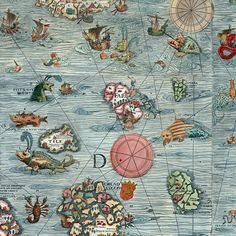 """Detail of the Carta marina, by Olaus Magnus. The caption reads: """"A Marine map and Description of the Northern Lands and of their Marvels, most carefully drawn up at Venice in the year 1539 through the. Compass Rose, Map Design, Vintage Maps, Book Cover Art, Girl Dancing, Illuminated Manuscript, Old And New, Antiques, Illustration"""