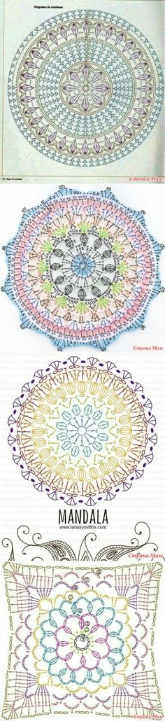 free charts for mandala crochetChristina Crochet Passion: Crochet blanket carpet designs by kariA new release: Joana's Mandala crochet pattern. This mandala is made in overlay crochet and has a very nice and Crochet Mandala Pattern, Crochet Circles, Crochet Motifs, Crochet Diagram, Doily Patterns, Crochet Chart, Crochet Squares, Crochet Blanket Patterns, Knitting Patterns